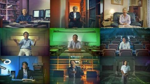 インタビュー相手を真正面から捉え、背景に照明で色をのせる手法(『ブレイブ 勇敢なる者』「えん罪弁護士」より)(C)NHK