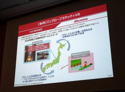 沖縄でカヤックをこぐ様子を、映像だけでなく筋変位センサーを使って手などの感覚も疑似体験できるVR(仮想現実)サービスの実証実験も行った(撮影/高田学也)