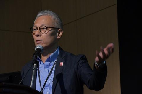 """「ドコモ5Gオープンパートナープログラム」を通じてさまざまな企業・団体と""""協創""""して5Gを盛り上げていきたいと語る有田氏"""