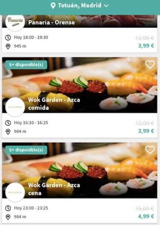 アプリに表示された画面から食材ジャンルと店舗を選ぶ