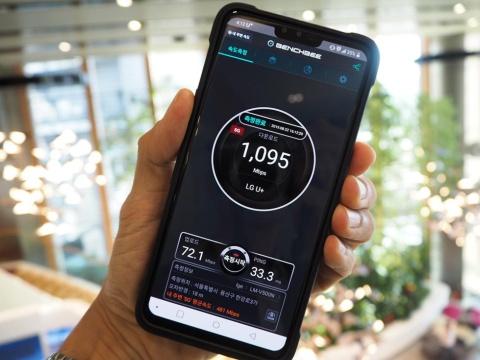 韓国の携帯電話事業者LGユープラスの本社内で測定をすると、5Gの通信速度は毎秒1ギガビットを超えた
