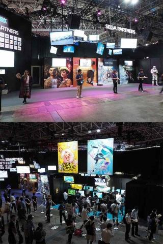 セガゲームス/アトラスのブースの一角に設えられたセガパートナーズのコーナー。クラウドファンディングで大きな話題を呼んだ『シェンムーⅢ』の最新映像もここで見られる