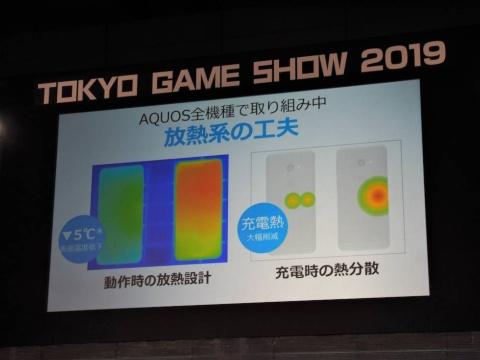 シャープのスマホ「AQUOS」シリーズでは、ゲームプレーに影響する発熱を抑えるため、放熱を重視した設計に力を入れているという
