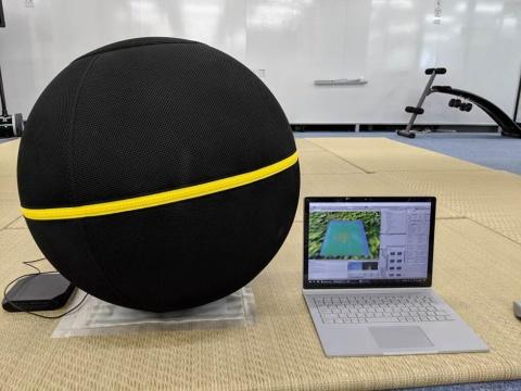 「日経クロストレンドEXPO 2019」で展示予定のデモ。圧力分布センシングシートとバランスボールを組み合わせ、載った人の姿勢や体の柔らかさなどを可視化する