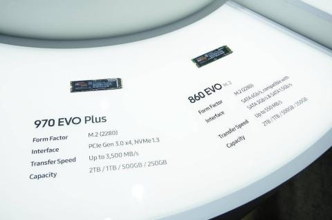 ゲーミングPCや自作PCでは、高速SSDの定番モデルとなっている「970 EVO Plus」を展示。新しい接続方式のNVMeに対応する