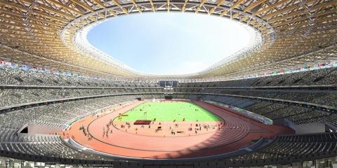 まもなく完成するオリンピックスタジアム(新国立競技場)の予想図。大成建設・梓設計・隈研吾建築都市設計事務所JV作成/JSC提供