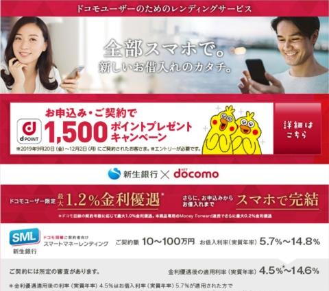 新生銀行は2019年8月、ドコモユーザー向けの無担保ローンサービスを開始