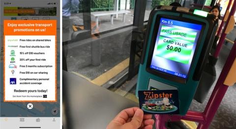 左が交通パートナーの割引クーポン。右がZipsterカードを使った決済場面(カード券面はITS世界会議参加者向けに配布されたもので、無料チケット付き)