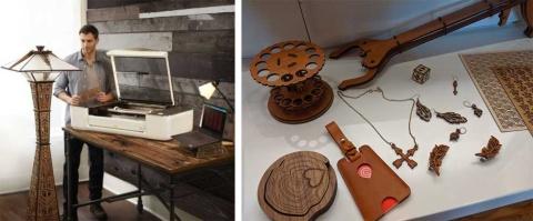 グローフォージが開発した3Dレーザープリンター(左)と、このプリンターを使って制作した作品の数々(右)
