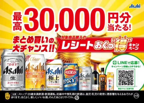 """アサヒビールは2019年に3回実施した「レシートおくっ""""得""""キャンペーン」でLINE Beaconを利用した。対象チェーン店で同社対象商品を購入したレシートを送ると商品券やポイントが当たる"""