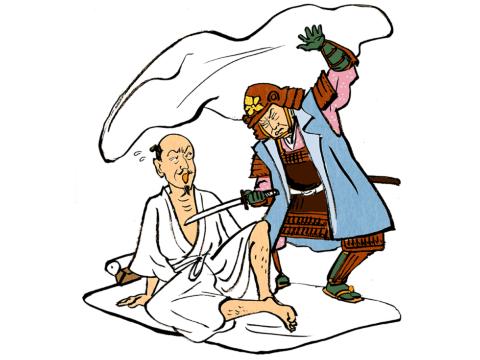 「本能寺の変」の真相は多くの人の心を引き付ける謎だ。左が信長。右が光秀(イラスト/伊野孝行)