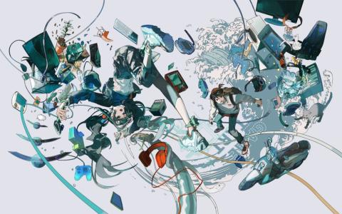 東京ゲームショウ 2020 オンラインのメインビジュアルは、イラストレーターのくっか氏が担当。今回のテーマが「未来は、まずゲームにやって来る。」であることから「スカッと爽やかに切り開いていくイメージを躍動感と色彩で表現した」(くっか氏)
