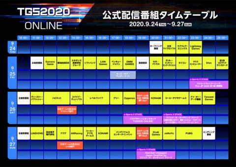 東京ゲームショウ 2020 オンライン 公式配信番組タイムテーブル(9月1日時点のもの)