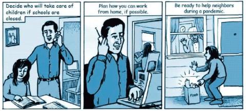 米ワシントン州シアトル市があるキング郡が漫画風に「在宅勤務の可能性も探りましょう」などと訴求(kingcounty.govより)
