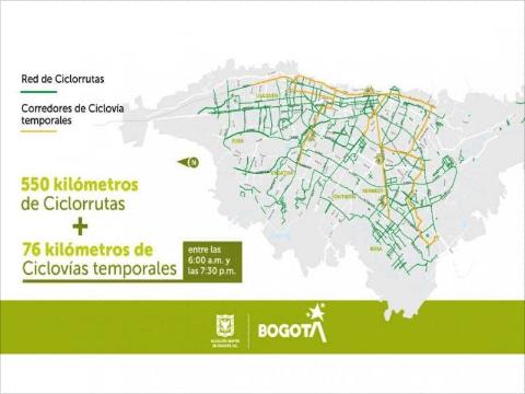 南米コロンビアでは、一時的な自転車レーンを創出し、エッセンシャルワーカーの安全な移動を支援
