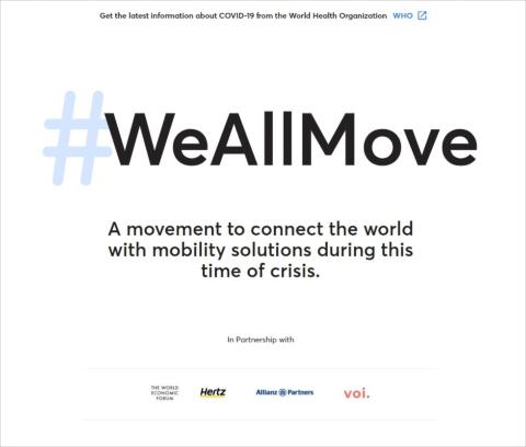 ドイツのwundermobilityがWEF(世界経済フォーラム)などと連携し、新型コロナウイルスに端を発した移動支援の様々な取り組みを紹介するサイト「#WeAllMove」を立ち上げた。医療従事者に安全な通勤オプションを提供する移動ソリューションなど、国ごとに事業者を掲載している