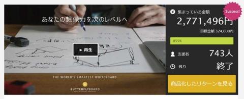 クラウドファンディングの「Makuake」で最初に資金を集めた「バタフライボード」の商品。目標支援額30万円ながら約277万円に達した(写真提供/バタフライボード)