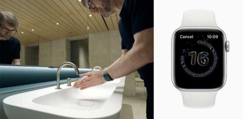 Apple Watchを装着して手洗いを始めると、動作や音を検知して自動的に20秒間のタイマーが起動する