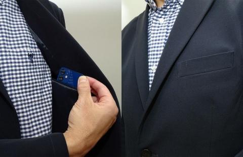 ジャケットのポケットに収まりきるiPhone 12 mini。膨らみも目立ちにくい