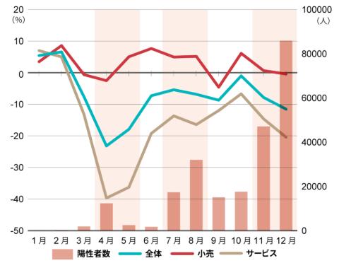 消費指数の推移(前年同月比、2020年)
