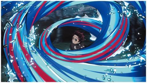 漫画では静止画の「水の呼吸」。原作で描かれた浮世絵風の技がどう動いたら面白いかなどを議論して表現方法が決まった