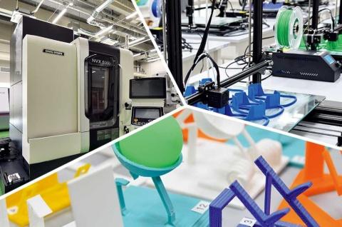 京都先端科学大学は、2020年4月に工学部を新設。工学部が入る京都太秦キャンパスの南館1階には、最新鋭の3Dプリンターやレーザー加工機などが導入された機械工房を設置している