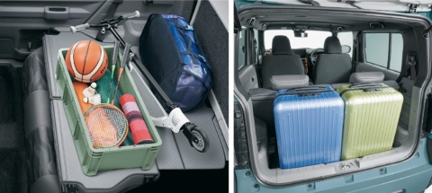 後部座席を倒すと左写真のように荷室が広がる(右写真は4人乗車時)。このスタイルは、後ろ半分を全て収納に使えることから「バックパックスタイル」と呼ばれる。シートの裏面は樹脂素材なので、汚れが付いてもすぐに拭き取れる