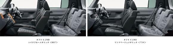 タフトのシート。主力の「タフトG」(左写真)に比べると、エントリーパッケージの「タフトX」(右写真)では前席のアームレストやシートヒーターがなく、デザイン面ではオレンジ色の線が入らない