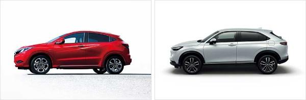 ヴェゼルの前モデル(左、16年発売モデル)と、新モデル(右)(写真提供/ホンダ)
