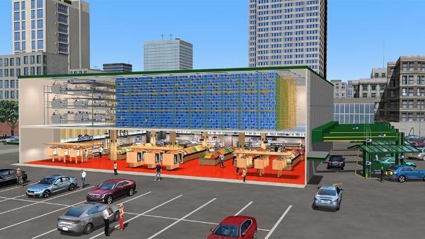アラートイノベーションが提唱する次世代店舗とその内部。2階が倉庫で店舗の右側にピックアップゾーンがある(出所/アラートイノベーション)