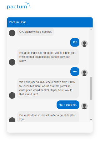 パックタムのAIが顧客と交渉しているところ。左側がAIによる発言部分(出所/パックタムのサイト)