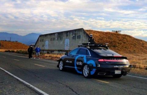 バイドゥの無人運転車がカリフォルニア州で走行試験する様子(画像はバイドゥのニュースリリースより)