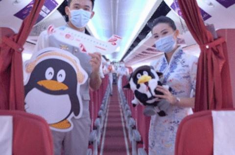 海南航空「ペンギン号」の機内の様子(ペンギンのマスコットは、テンセントの公式キャラクター)(画像はテンセントのニュースリリースより)