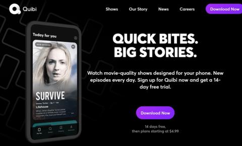2020年4月に開始された次世代モバイル動画サービス「Quibi」のアプリは同月中に100万ダウンロードを超えた
