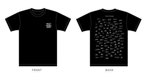 一部プランのリターンとして提供するオリジナルTシャツ。映画監督、アーティスト、文化人、俳優・女優など、同プロジェクトに賛同した著名人のサインをレイアウトしている。デザインは桑田氏