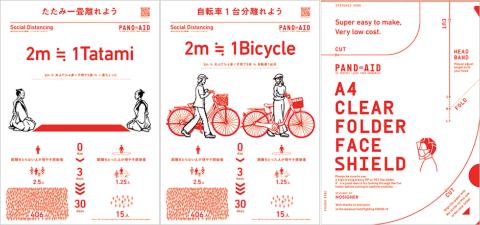 ソーシャルディスタンスをグラフィックで表現したコンテンツ。2メートルを畳の長さや自転車など身近な視点で示している。誰もがダウンロードして使える(PANDAIDのサイトより)