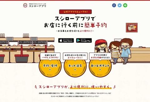 ホームページにある「スシローアプリ」の説明ページ