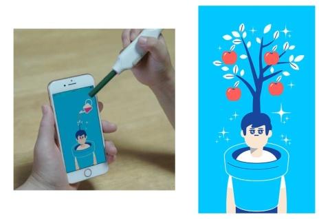 """たまったやる気パワーをアプリ画面に""""注ぐ""""と、木が成長してりんごの実ができる仕掛けを盛り込んだ。ストーリーやゲームは、クリエイティブ集団のワントゥーテン(京都市)と開発"""