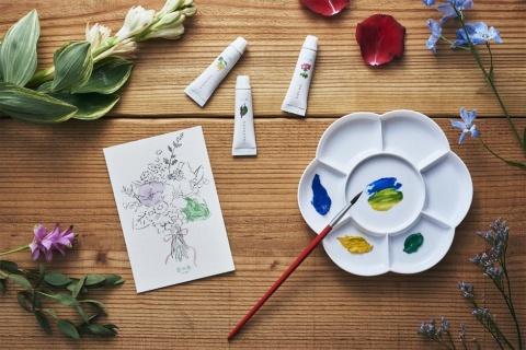 グラーストウキョウが開発・販売する水彩絵の具「香の具(kanogu)」。100%天然の精油を絵の具に配合した。絵手紙向けの専用ポストカードも製品化している