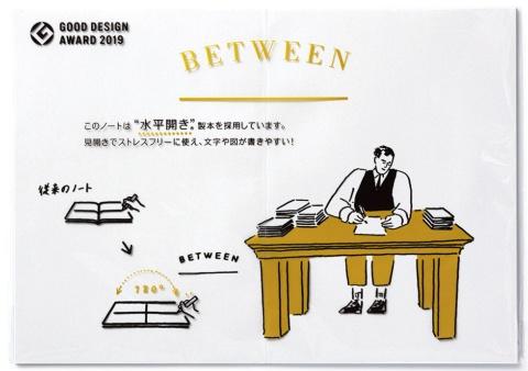 「BETWEEN」のパッケージの外観。180度見開きのままで示し、特徴や利点を示すイラストを描いている。開発当初から外部のデザイナーと組み、コンセプト出しからイラストの印刷まで決めた