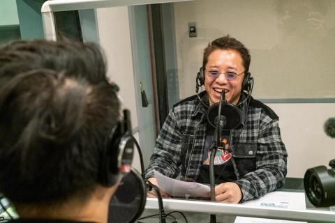保本氏とzopp氏によるジョイミューラジオ!の収録風景