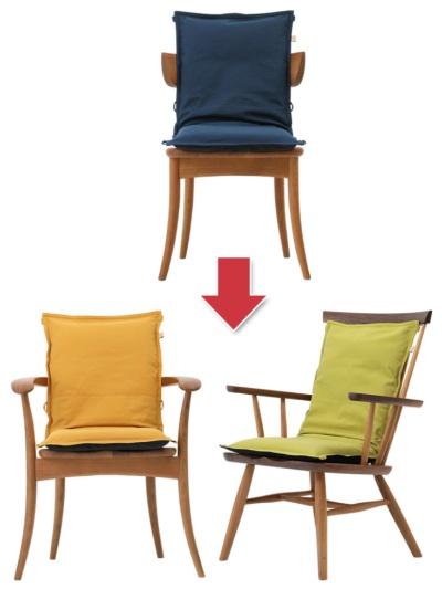 姿勢に配慮した座布団「ISUZABU(イスザブ)」は、新型コロナ禍以前はセルリアンブルーが一番人気だったが、今はマスタードやヒワグリーンが人気。価格は1万4300円(税込み、以下同)