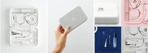 ミニサイズの文具を手のひらに載る大きさのケースに収めたステーショナリーキット。ケースはマグネットを内蔵し、それぞれの文具はケースにカチッと吸い付くように収まる