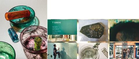 T Sakhiのテーブルウエア「Tasting Threads tableware」は、地元の工場廃棄物から収集した金属片を混ぜ合わせ、新しいガラス素材として活用した(https://www.tsakhi.com/)