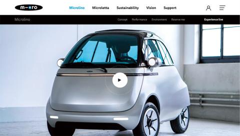 スイスのマイクロによる小型電気自動車「マイクロリーノ」は丸みを帯びたかわいいデザイン(https://microlino-car.com/)