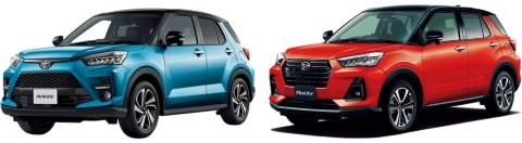 左がライズ(トヨタ自動車)。発売11カ月で約11万台を販売した。右のロッキー(ダイハツ工業)も3万台を超えた