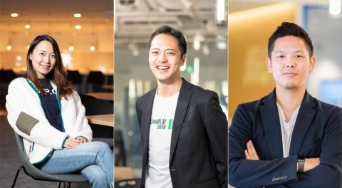 Plug and Playは2006年に創立された世界最大のイノベーションプラットフォーム。毎年世界で50を超えるアクセラレータープログラムを実施し、250社超の企業へイノベーションを提供。投資案件数ではシリコンバレーで最も活発なベンチャーキャピタル。世界に30を超える拠点を展開している。写真左から、Plug and Play Japan(東京・渋谷)のインシュアテック担当の李暢(チャン・リー)氏、フィンテック・リテール担当の貴志優紀氏、IoT担当の中井健太氏