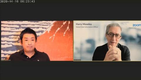 米ズーム・ビデオ・コミュニケーションズ グローバルCIOのハリー・モーズレイ氏(右)と、HOMMAの創業者・本間毅氏(左)