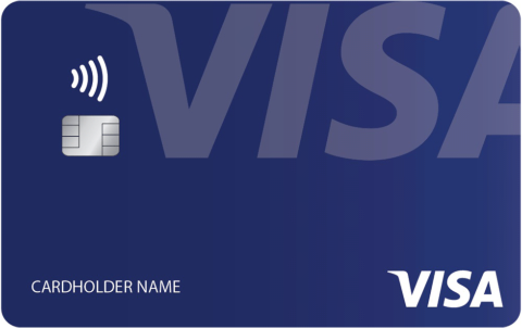 Visaのタッチ決済に対応したクレジットカード。ICチップの上に位置する、電波の発信を意味する4本線が、タッチ決済への対応を示す(写真提供/ビザ・ワールドワイド・ジャパン)