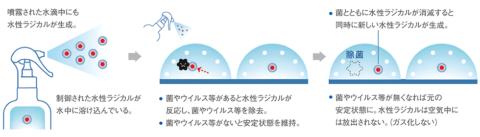 MA-Tの除菌・ウイルス不活性化のメカニズム。水中に溶け込んだ「水性ラジカル」という成分が、ウイルスや菌などがあるときだけ反応して除去する (マンダムの広報資料より)